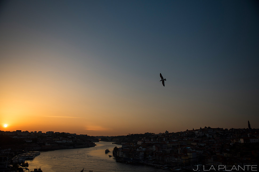 beautiful sunset in porto portugal