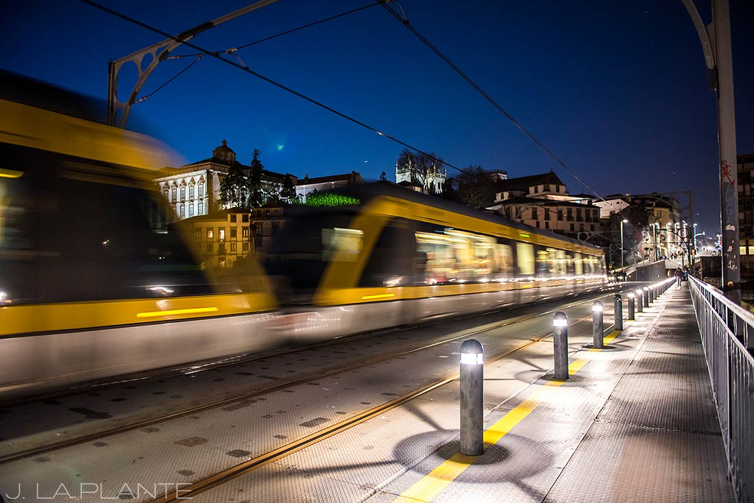 riding the train in porto portugal