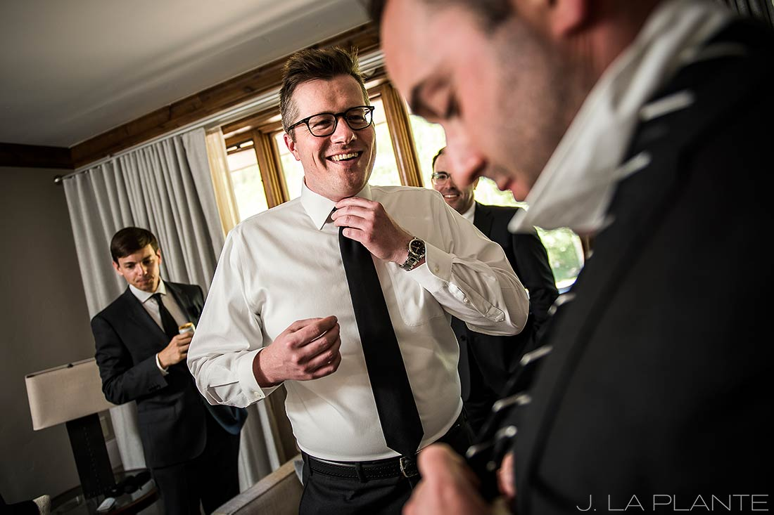Sonnenalp Wedding | Groom and groomsmen getting ready | Vail wedding photographer | J La Plante Photo