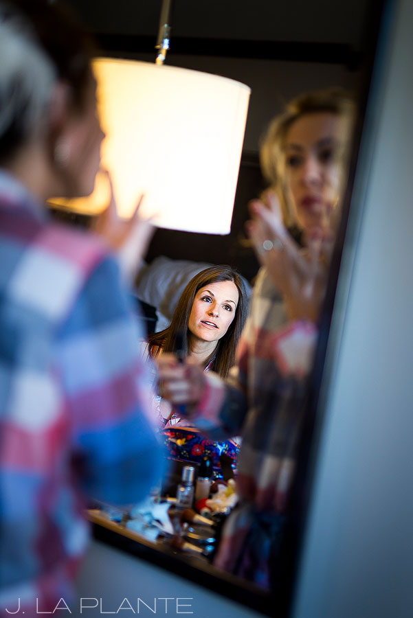 Sonnenalp Wedding | Bridesmaid watching bride get ready | Vail wedding photographer | J La Plante Photo