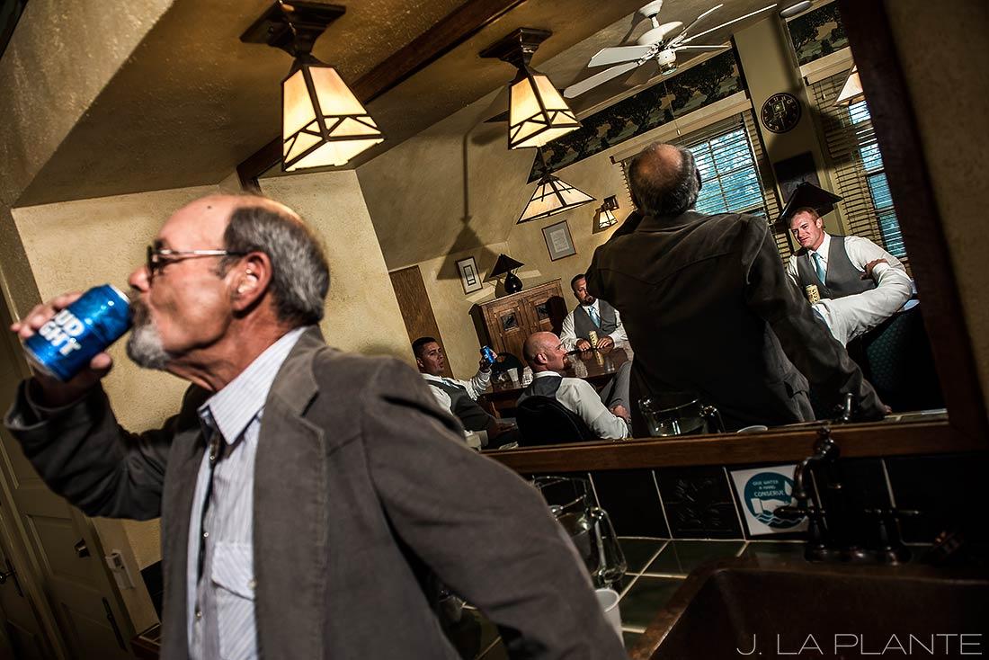 Boettcher Mansion wedding | Groomsmen drinking beer | J La Plante Photo | Denver Wedding Photographer