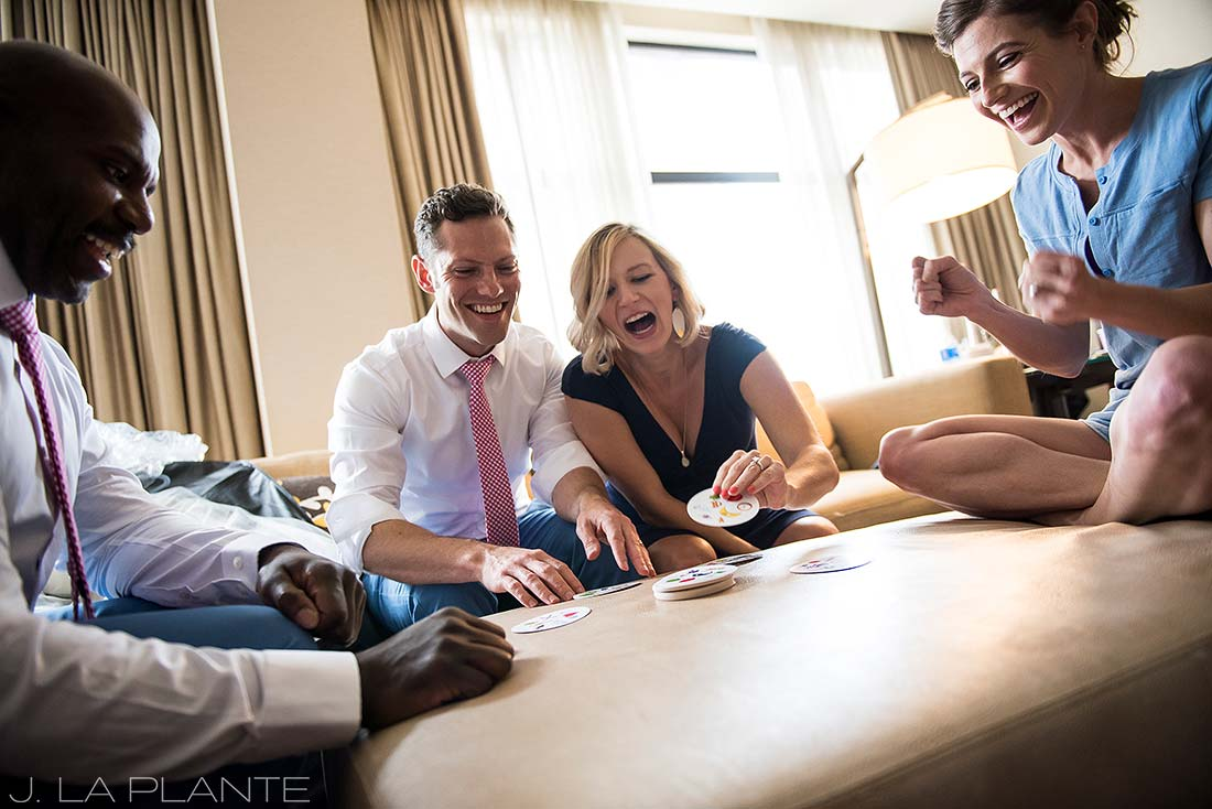 Grand Hyatt Denver Wedding | Wedding party card game | Same Sex Wedding Photographer | J La Plante Photo