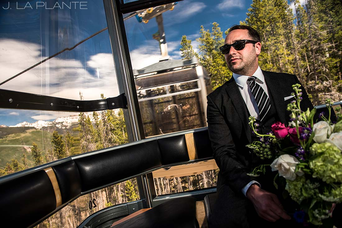 Vail Mountain Wedding | Groom in gondola | Vail wedding photographer | J La Plante Photo