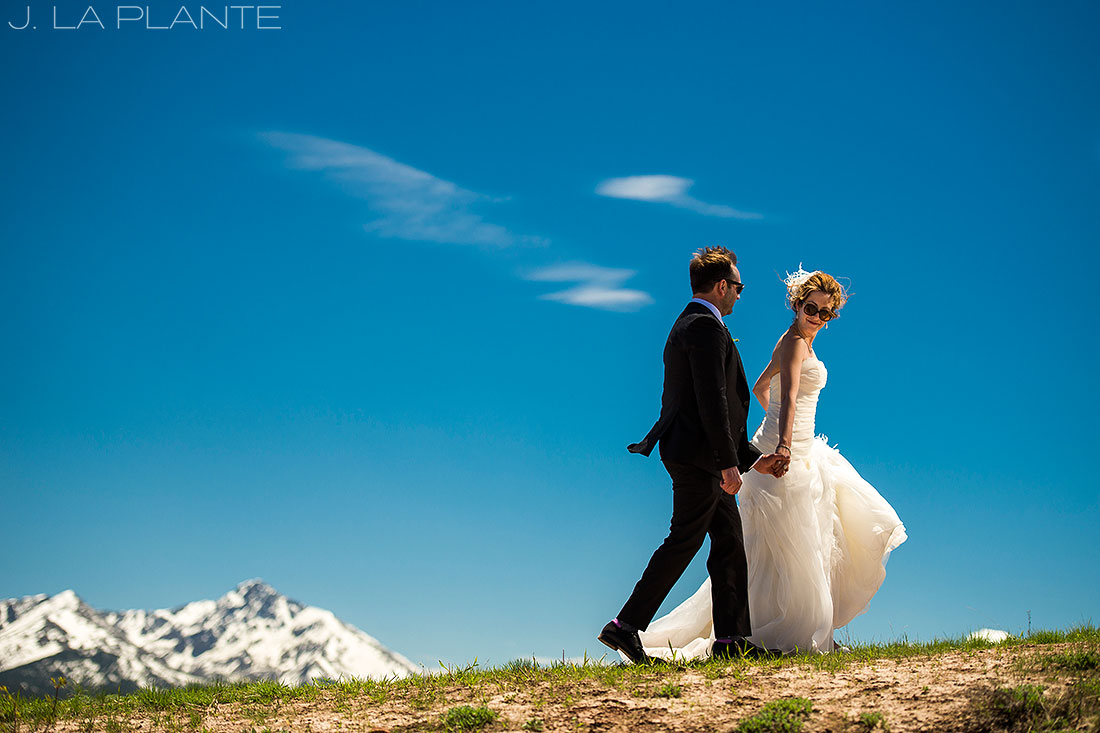 Vail Mountain Wedding | Bride and Groom on mountain | Vail wedding photographer | J La Plante Photo