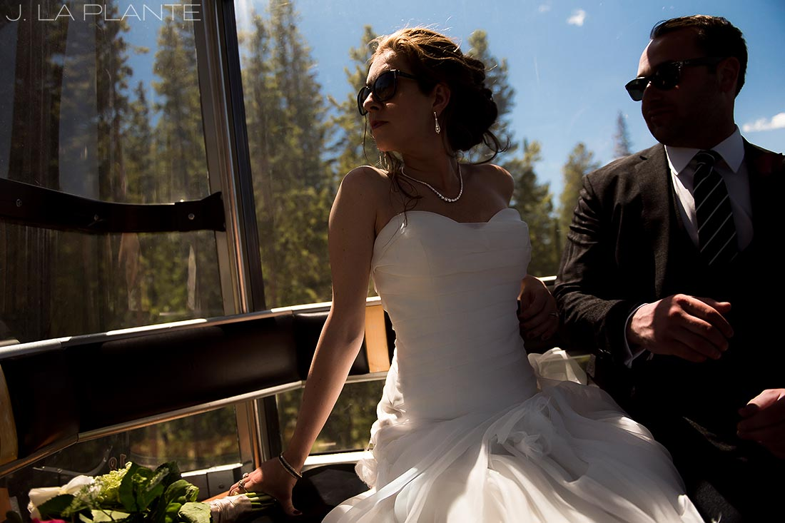 Vail Mountain Wedding | Bride and Groom in gondola | Vail wedding photographer | J La Plante Photo