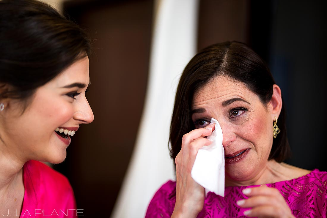 Grand Hyatt Denver Wedding | Mother of the bride crying | Same Sex Wedding Photographer | J La Plante Photo