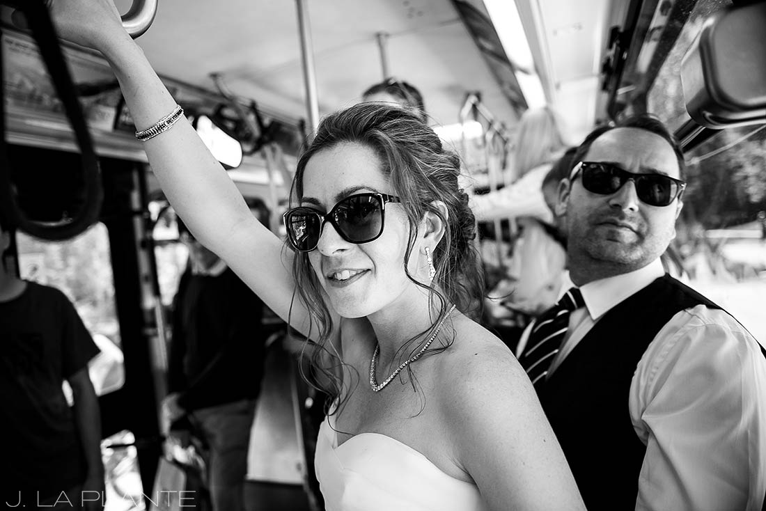Vail Mountain Wedding | Bride and Groom in Vail Village | Vail wedding photographer | J La Plante Photo
