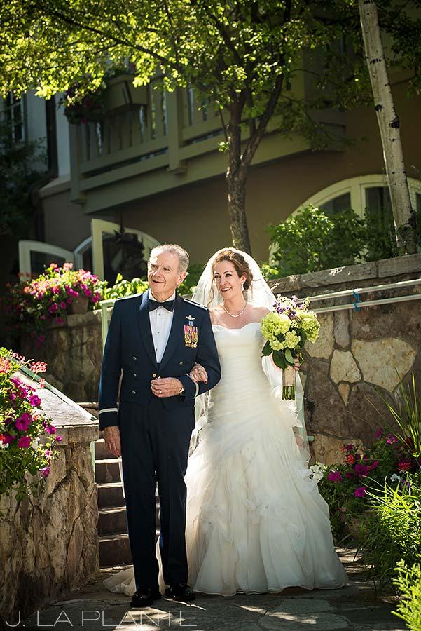 Sonnenalp Wedding | Bride walking down aisle | Vail wedding photographer | J La Plante Photo
