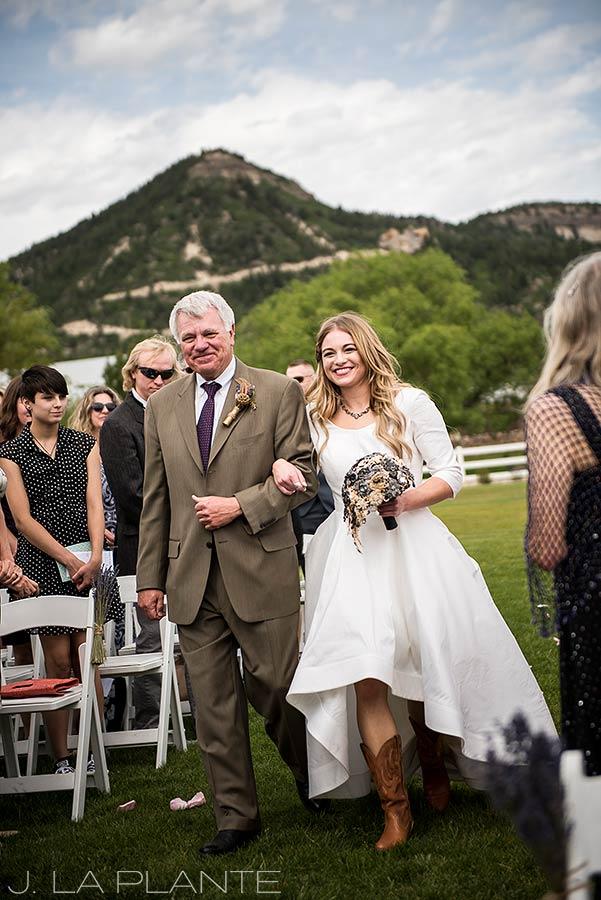 Bride walking down aisle | Crooked Willow Farms Wedding | Denver Wedding Photographer | J La Plante Photo