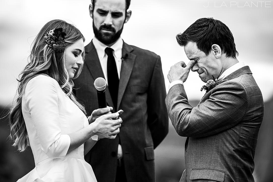 Groom crying during wedding | Crooked Willow Farms Wedding | Denver Wedding Photographer | J La Plante Photo