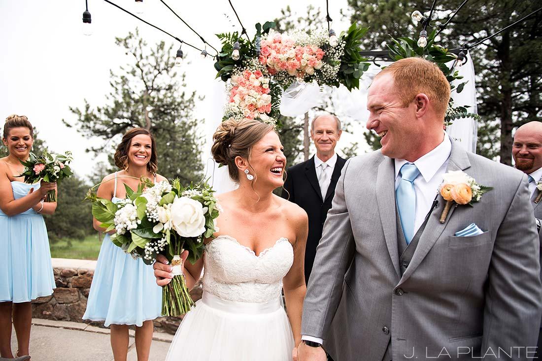 Boettcher Mansion wedding | Bride and groom recessing | J La Plante Photo | Denver Wedding Photographer