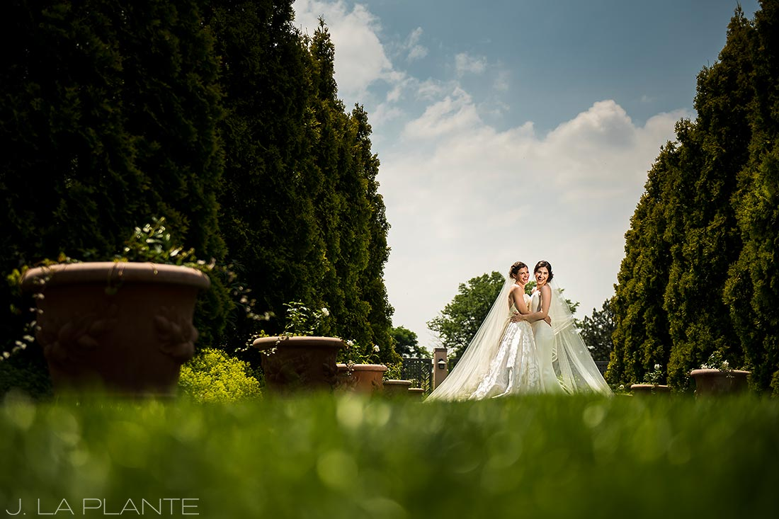 Denver Botanic Gardens Wedding | Photo of brides in garden | Same Sex Denver Wedding Photographer | J La Plante Photo