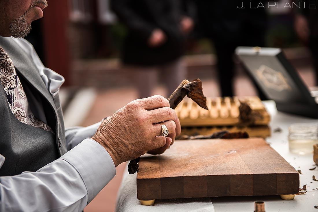 Wedding cigar rolling | Crooked Willow Farms Wedding | Denver Wedding Photographer | J La Plante Photo