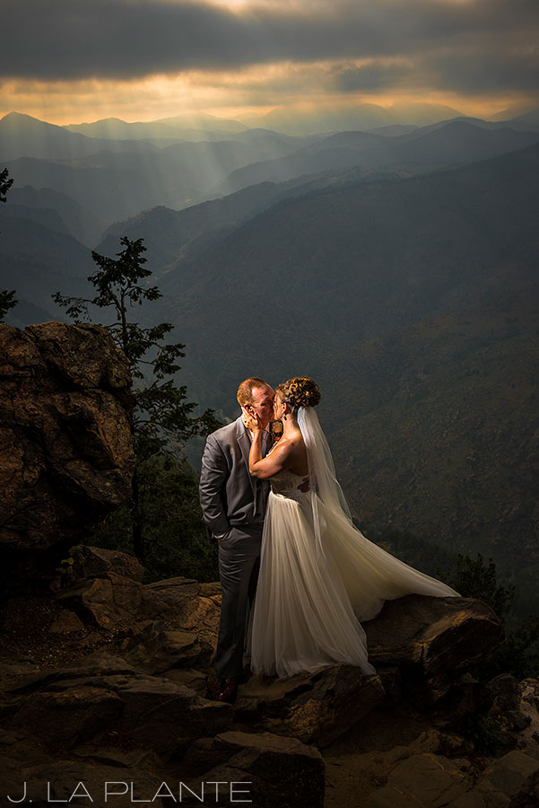 Boettcher Mansion wedding | Bride and groom sunset photo in mountains | J La Plante Photo | Denver Wedding Photographer