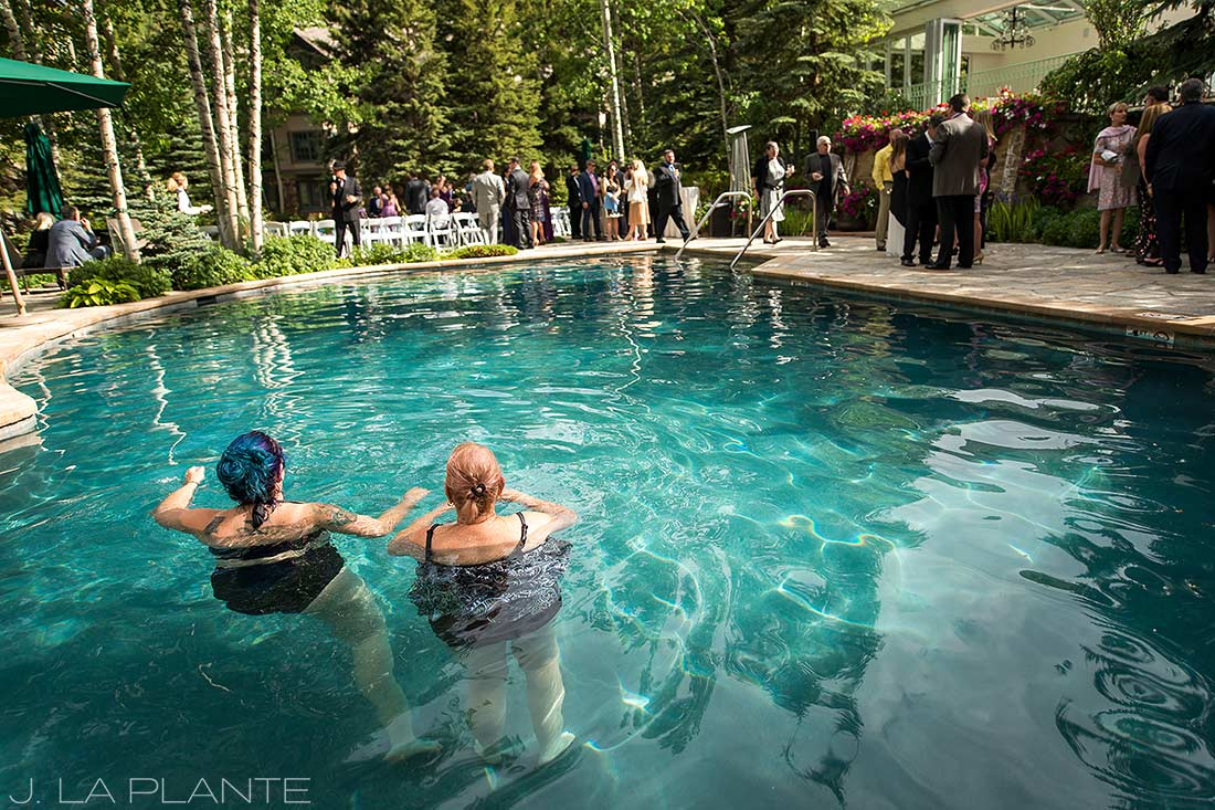 Sonnenalp Wedding | Wedding reception by pool | Vail wedding photographer | J La Plante Photo