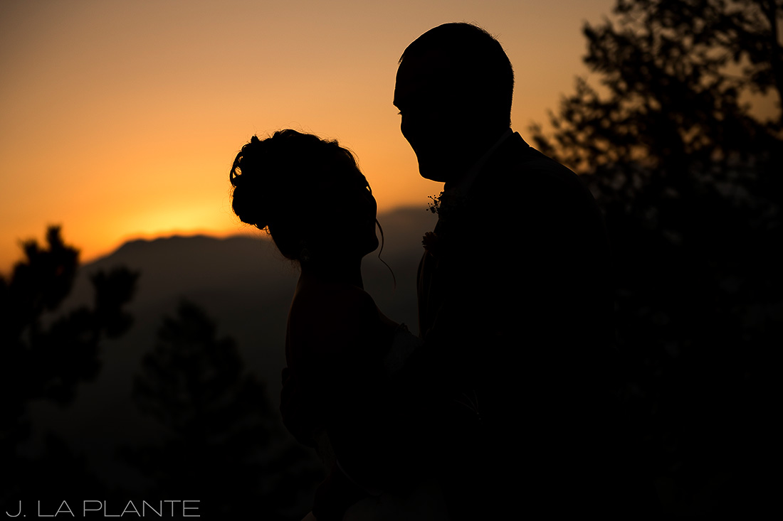 Boettcher Mansion wedding | Sunset silhouette of bride and groom | J La Plante Photo | Denver Wedding Photographer