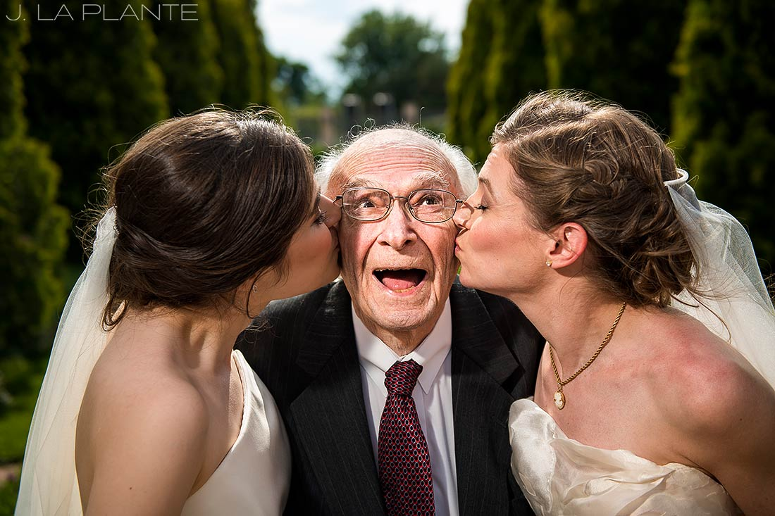 Denver Botanic Gardens Wedding | Brides kissing grandpa | Same Sex Wedding Photographer | J La Plante Photo
