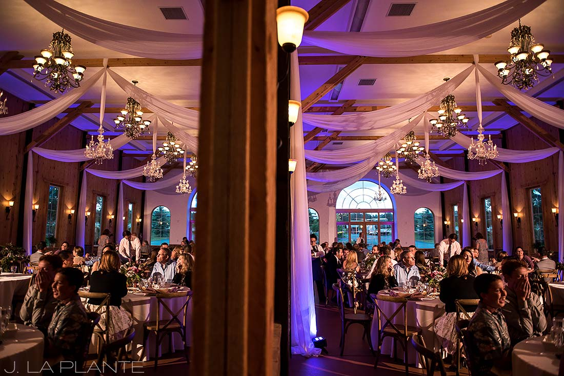 Wedding reception with uplighting | Crooked Willow Farms Wedding | Denver Wedding Photographer | J La Plante Photo