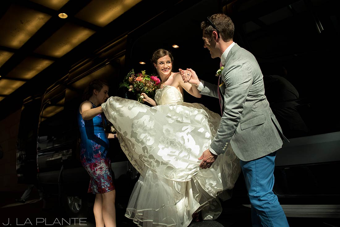 Grand Hyatt Denver Wedding | Bride getting out of limo | Same Sex Wedding Photographer | J La Plante Photo