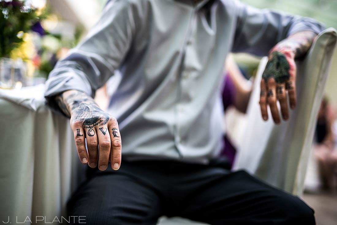 Sonnenalp Wedding | Love and Hate tattoos | Vail wedding photographer | J La Plante Photo