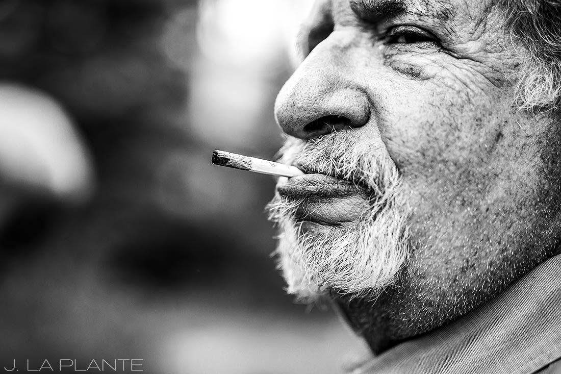 Sonnenalp Wedding | Wedding guest smoking | Vail wedding photographer | J La Plante Photo