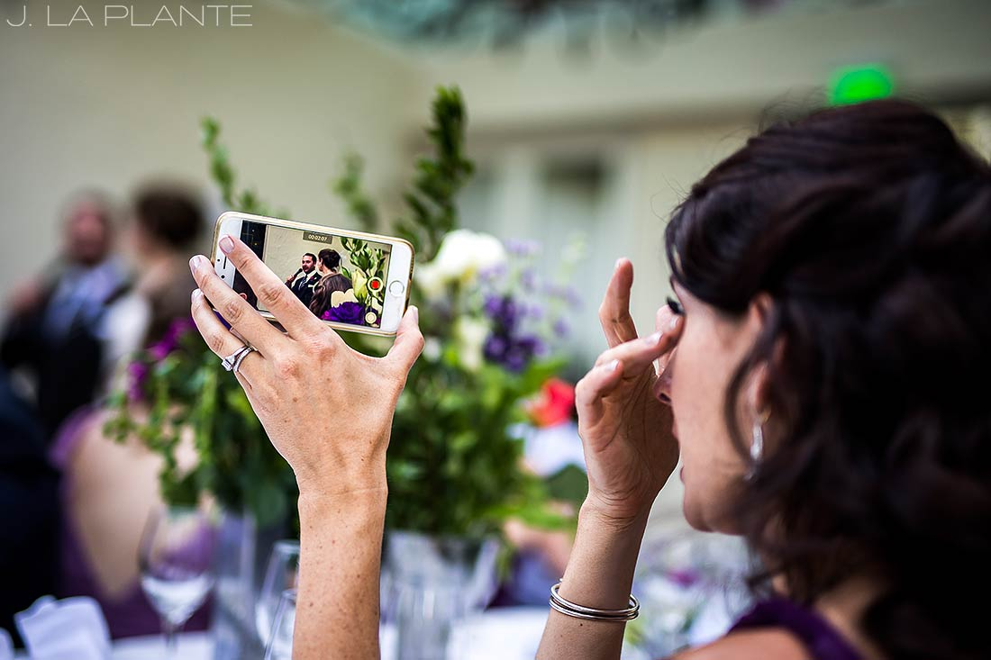 Sonnenalp Wedding | Bridesmaid crying during toasts | Vail wedding photographer | J La Plante Photo