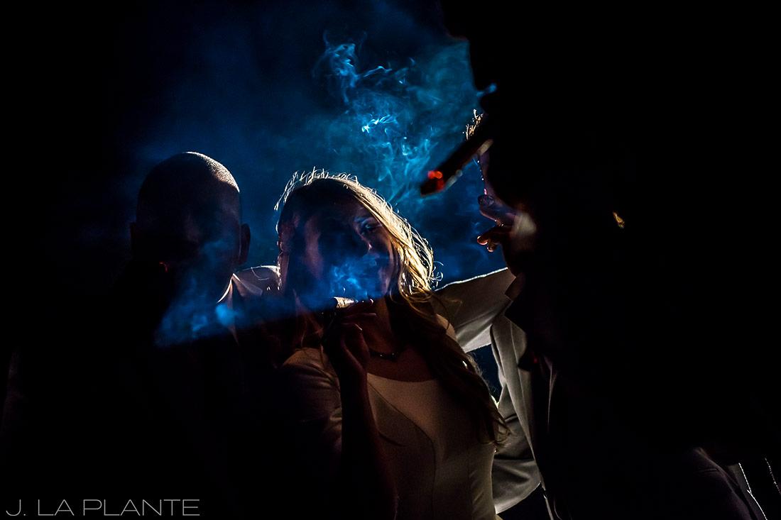 Bride smoking cigar | Crooked Willow Farms Wedding | Denver Wedding Photographer | J La Plante Photo