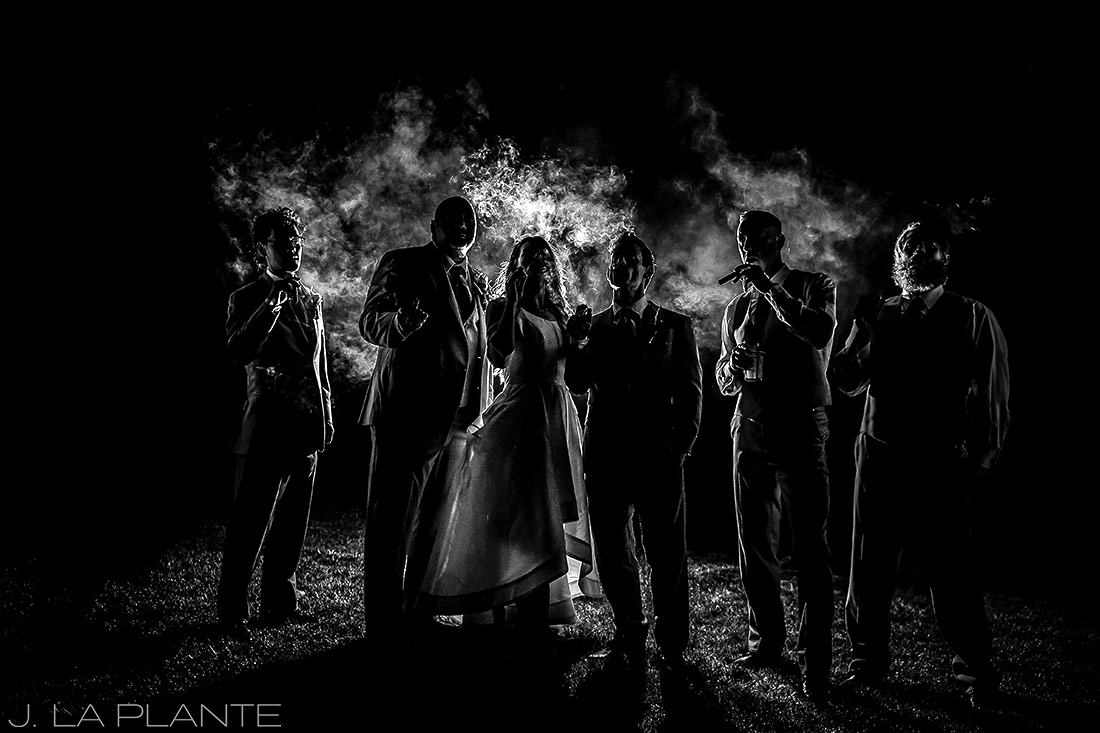Groomsmen smoking cigars | Crooked Willow Farms Wedding | Denver Wedding Photographer | J La Plante Photo