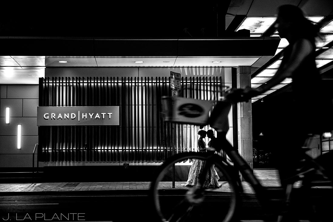 Grand Hyatt Denver Wedding | Wedding photo with bicycle | Same Sex Wedding Photographer | J La Plante Photo