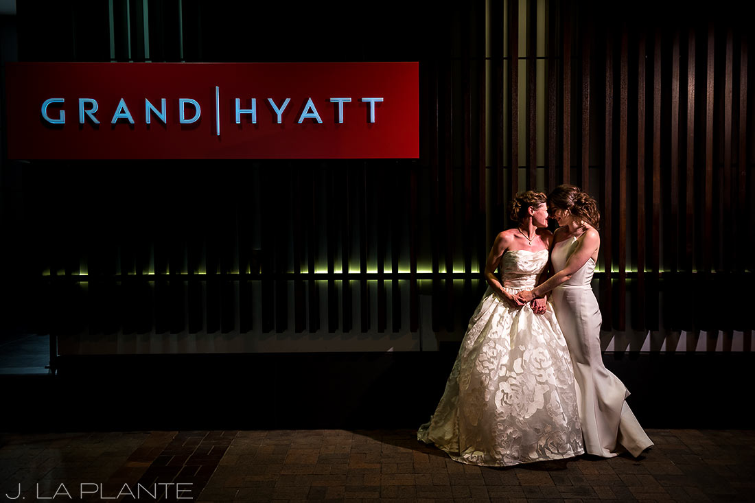 Grand Hyatt Denver Wedding | Nighttime wedding photo | Same Sex Wedding Photographer | J La Plante Photo