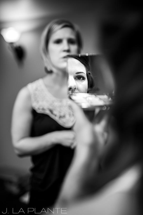Edgewood Inn Wedding | Colorado Springs Wedding Photographer | Bride getting makeup done | J La Plante Photo