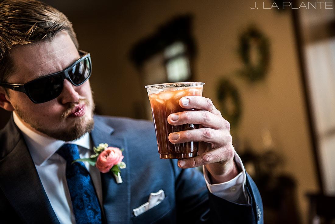 Edgewood Inn Wedding | Colorado Springs Wedding Photographer | Groomsmen drinking | J La Plante Photo