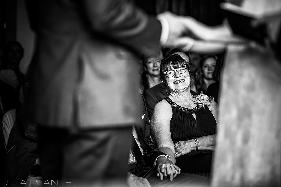 Edgewood Inn Wedding | Colorado Springs Wedding Photographer | Mother of bride during ceremony | J La Plante Photo