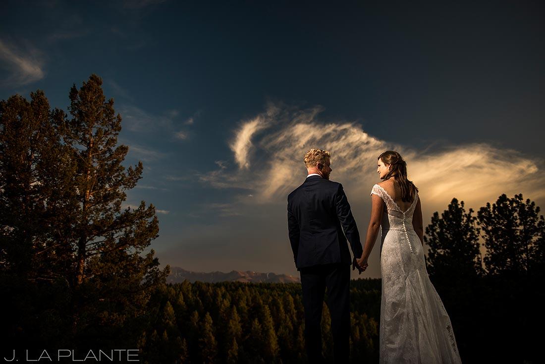 Edgewood Inn Wedding | Colorado Springs Wedding Photographer | Bride and groom at sunset | J La Plante Photo