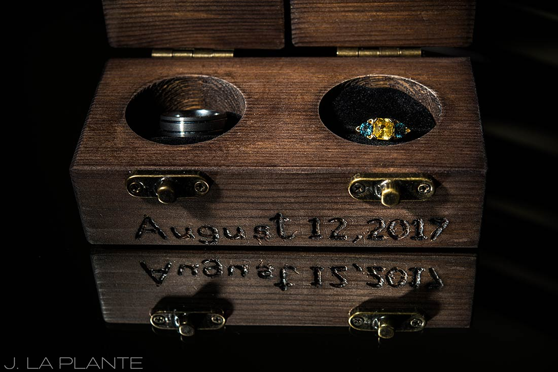 Purgatory Resort wedding | Wedding ring box | Colorado wedding photographer | J La Plante Photo