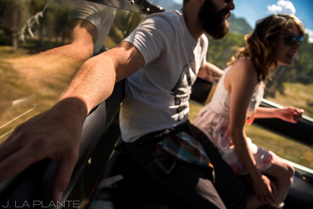 Solar eclipse engagement shoot | Couple riding in gondola | Vail engagement photographer | J La Plante Photo