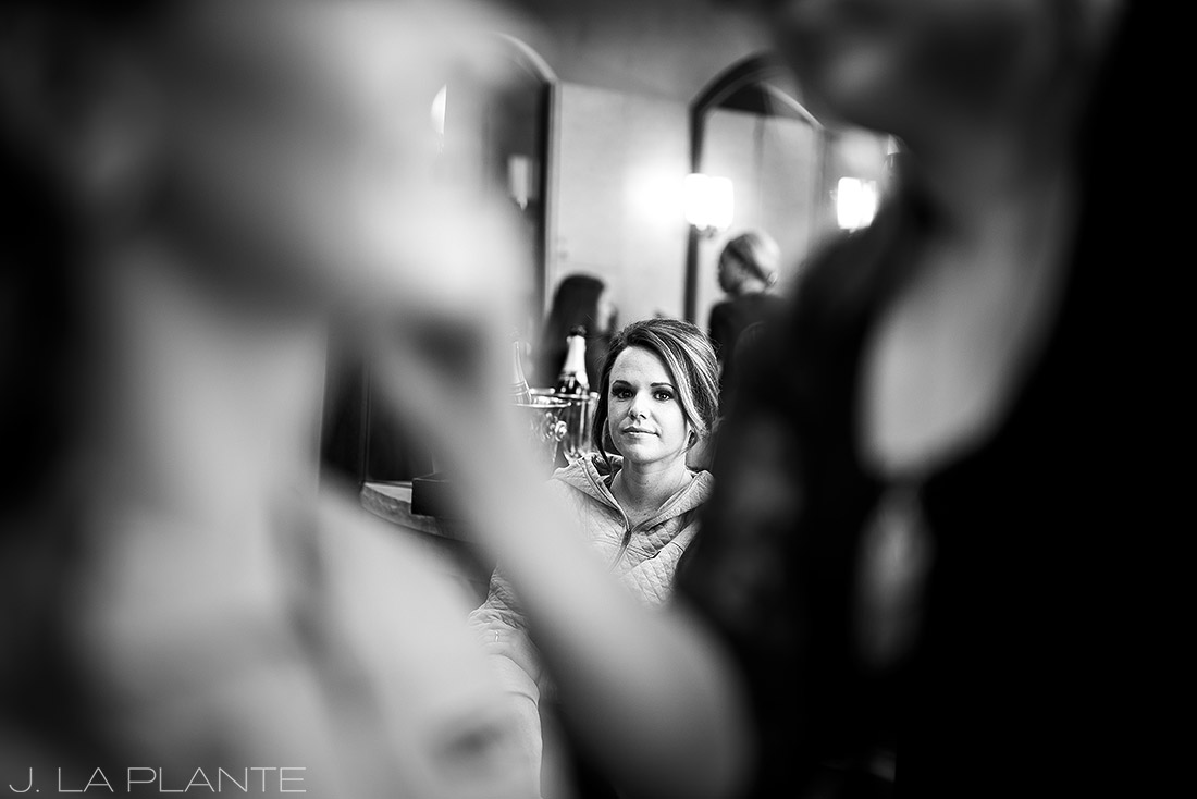 Beaver Creek Wedding deck ceremony | Bride and bridesmaids getting ready | Beaver Creek wedding photographer | J La Plante Photo