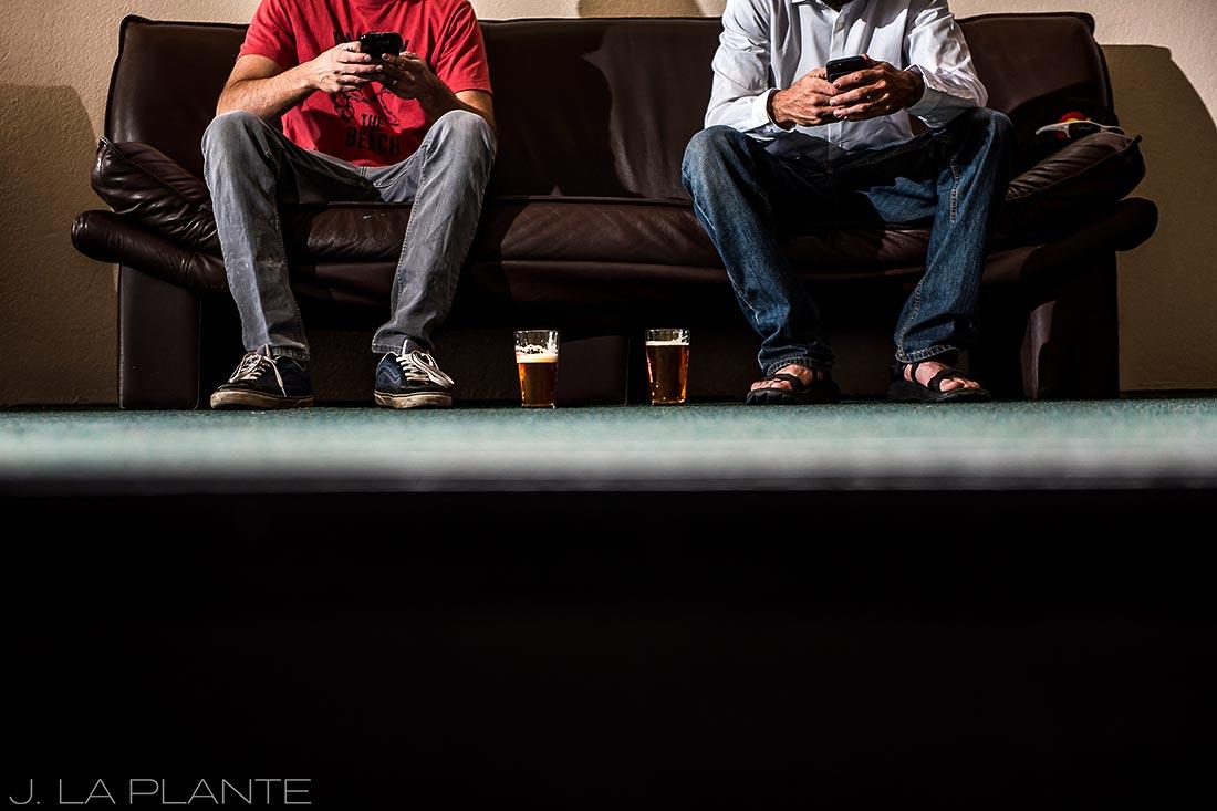 Purgatory Resort wedding | Groom hanging out with best man | Colorado wedding photographer | J La Plante Photo