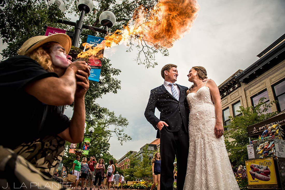 Greenbriar Inn wedding | Bride and groom on Boulder Pearl Street | Boulder wedding photographer | J La Plante Photo