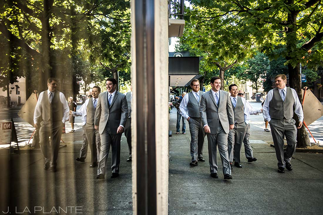 Seattle wedding | Groom walking with groomsmen | Seattle destination wedding photographer | J La Plante Photo