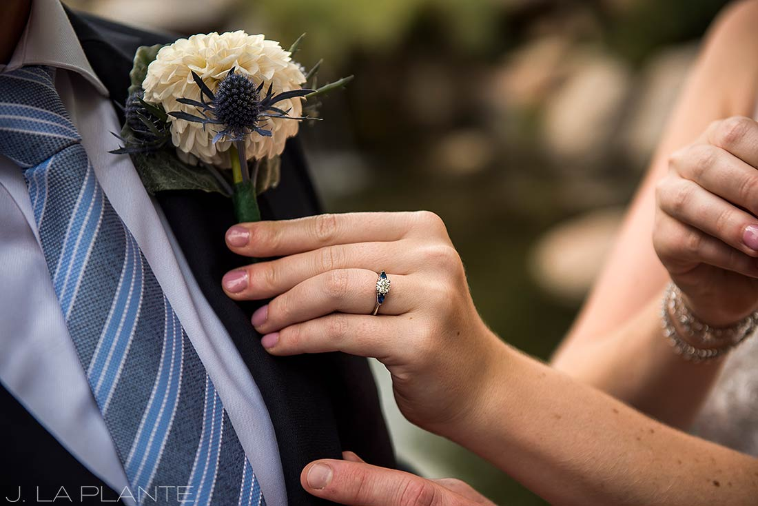 Greenbriar Inn wedding | Thistle outonniere | Boulder wedding photographer | J La Plante Photo