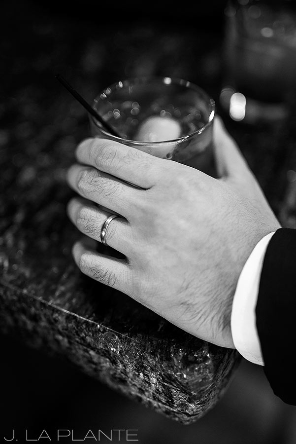 Greenbriar Inn wedding | Groomsman drinking whiskey | Boulder wedding photographer | J La Plante Photo