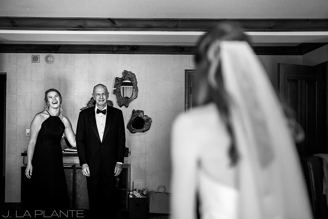 Beaver Creek Wedding deck ceremony | First look with father of the bride | Beaver Creek wedding photographer | J La Plante Photo