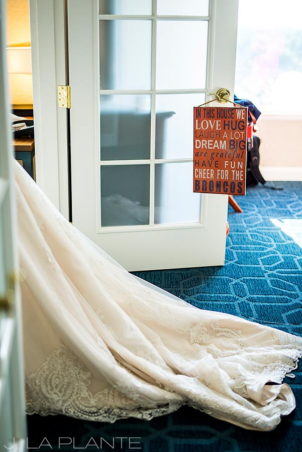JW Marriott Cherry Creek Wedding | Wedding dress train | Denver wedding photographer | J La Plante Photo