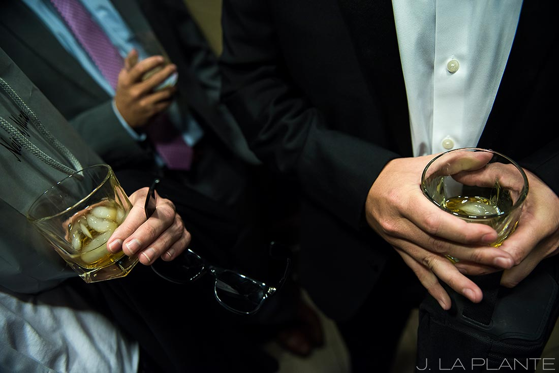 Beaver Creek Wedding deck ceremony | Groom drinking whiskey | Beaver Creek wedding photographer | J La Plante Photo