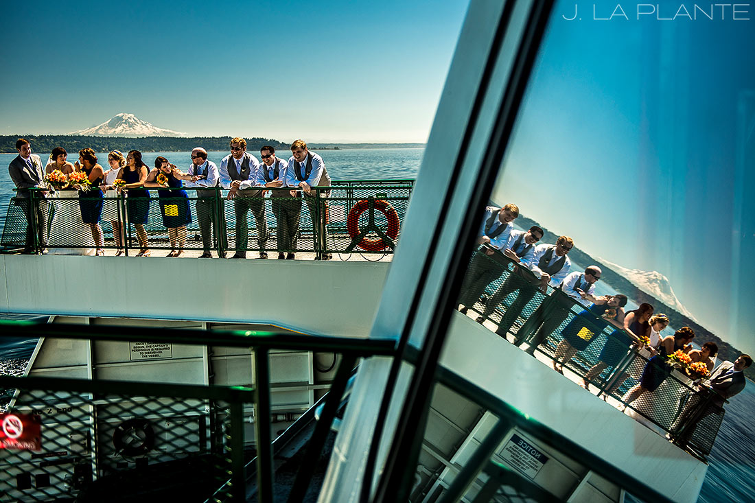 Seattle Destination Wedding | Wedding party on ferry | Destination wedding photographer | J La Plante Photo