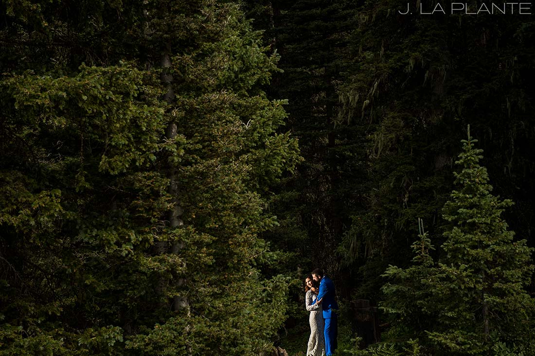 Purgatory Resort wedding | Bride and groom in forest | Colorado wedding photographer | J La Plante Photo