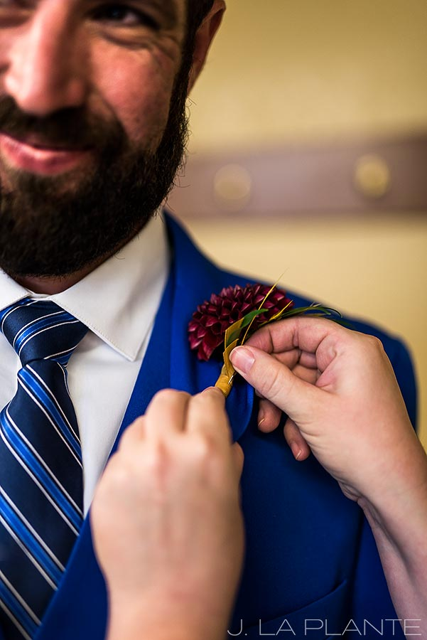 Purgatory Resort wedding | Groom's boutonniere | Colorado wedding photographer | J La Plante Photo