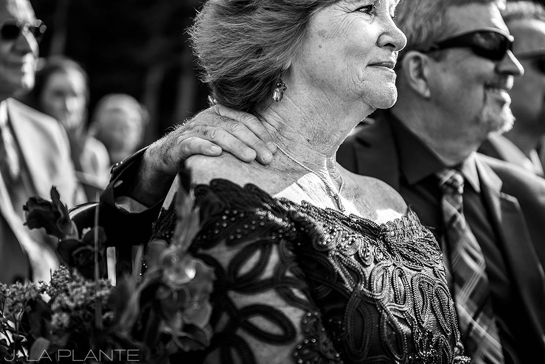 Purgatory Resort wedding | Mother of the bride watching ceremony | Durango wedding photographer | J La Plante Photo
