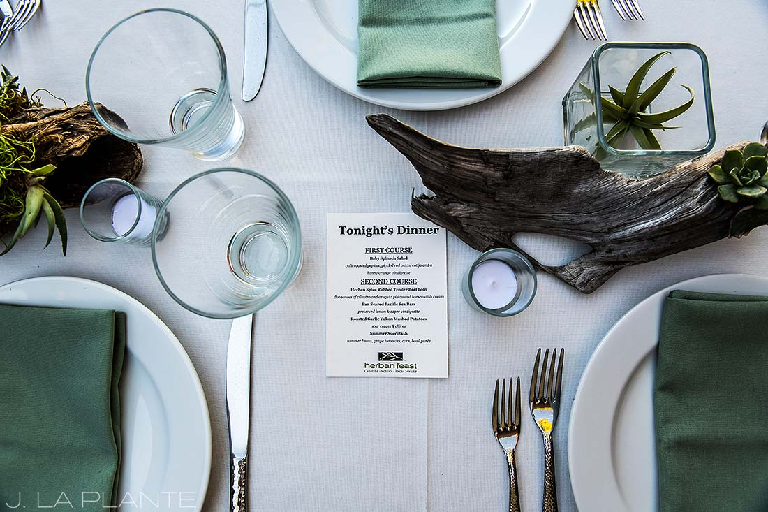 Vashon Island Wedding | Dinner menu | Seattle destination wedding photographer | J La Plante Photo